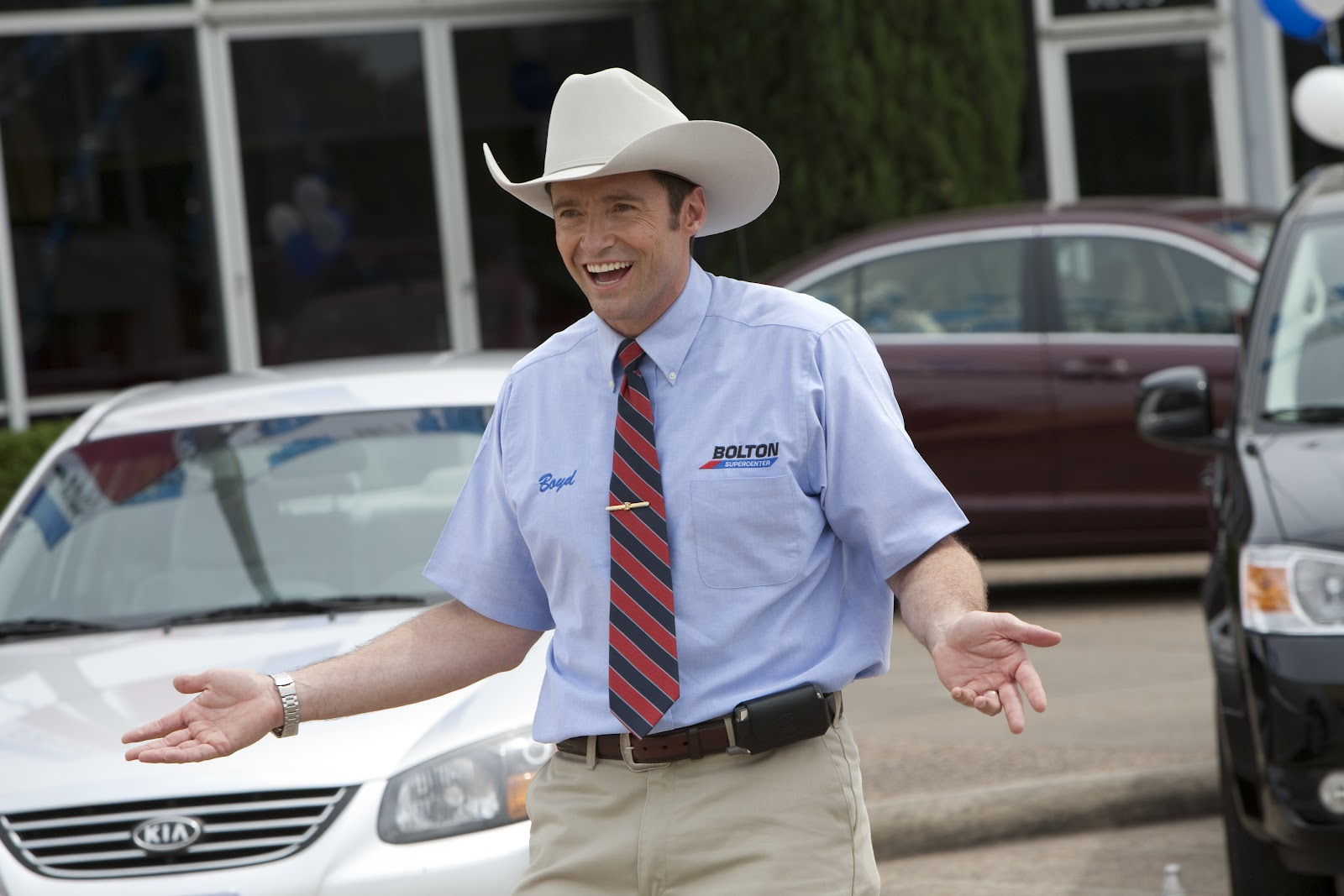 Hugh Jackman as Creepy Car Salesman