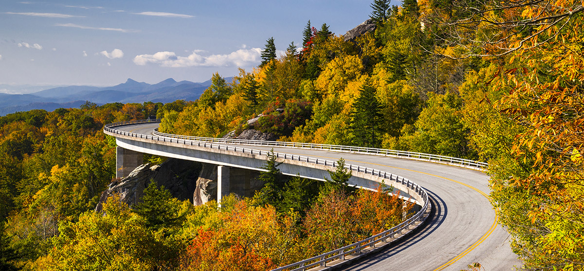 Blue Ridge Parkway, an All-American Road located in the Southeast U.S.