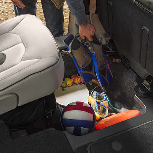 Chrysler Pacifica has Stow 'n Go seats that offer families great storage solutions
